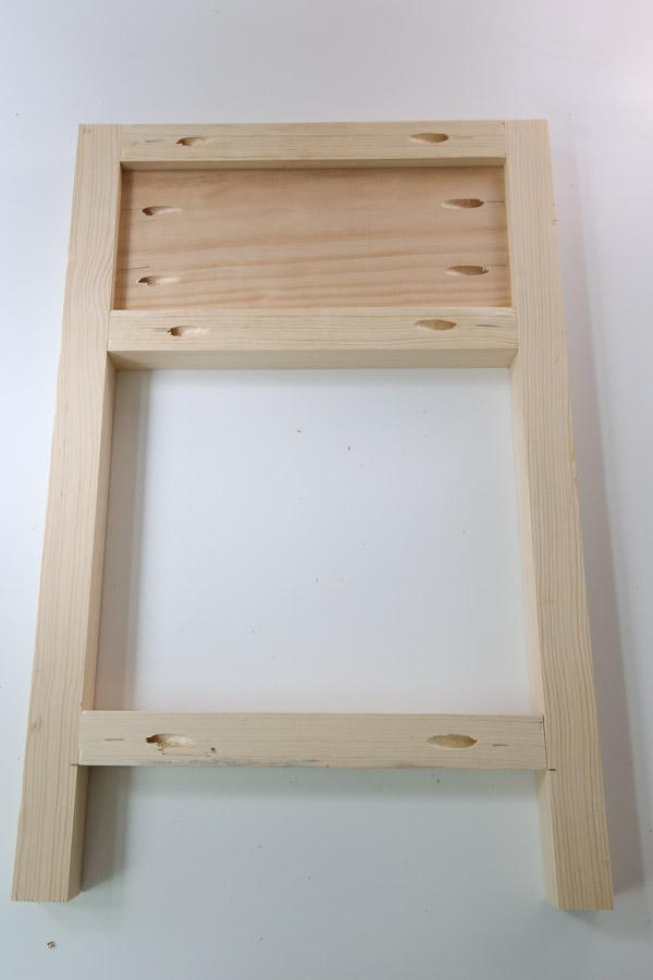 assembling side frame of DIY nightstand