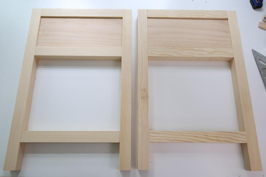 assembled side frames of DIY nightstand