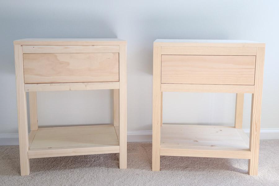 DIY wood nightstands before staining