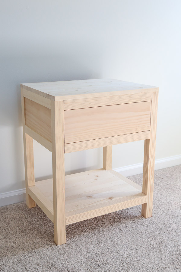 DIY nightstand with drawer before stain