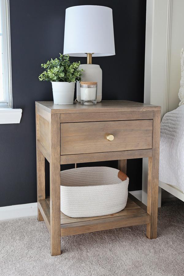 DIY nightstand next to bed