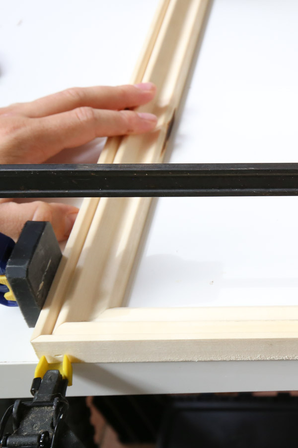 attach frame molding together with brad nailer