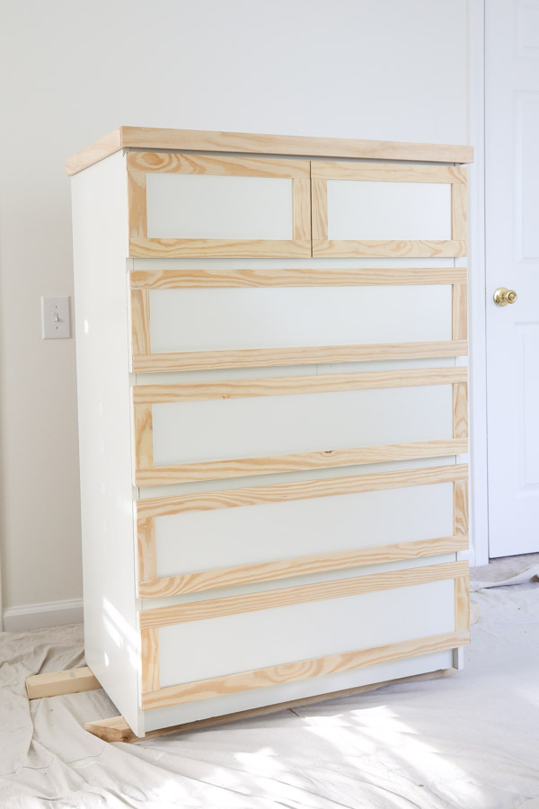 trim added to ikea malm dresser hack before paint