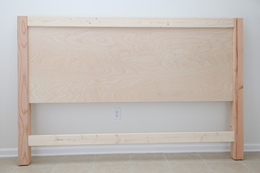 front of DIY headboard before trim
