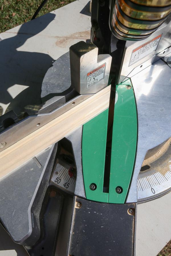 cutting trim with miter saw