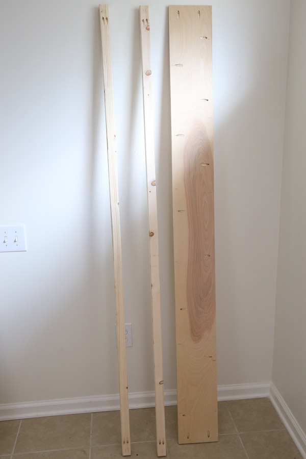 lumber with pocket holes for footboard