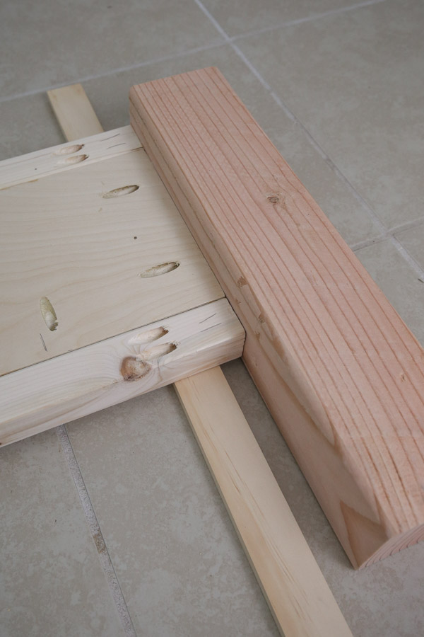 assemble footboard with pocket holes, clamps, and kreg screws