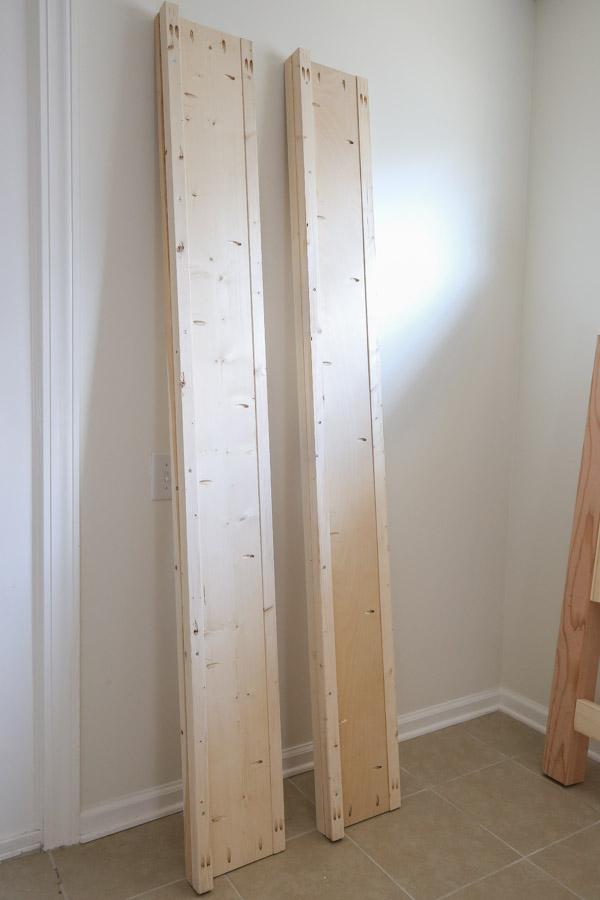 assembling side rails for DIY king size bed frame