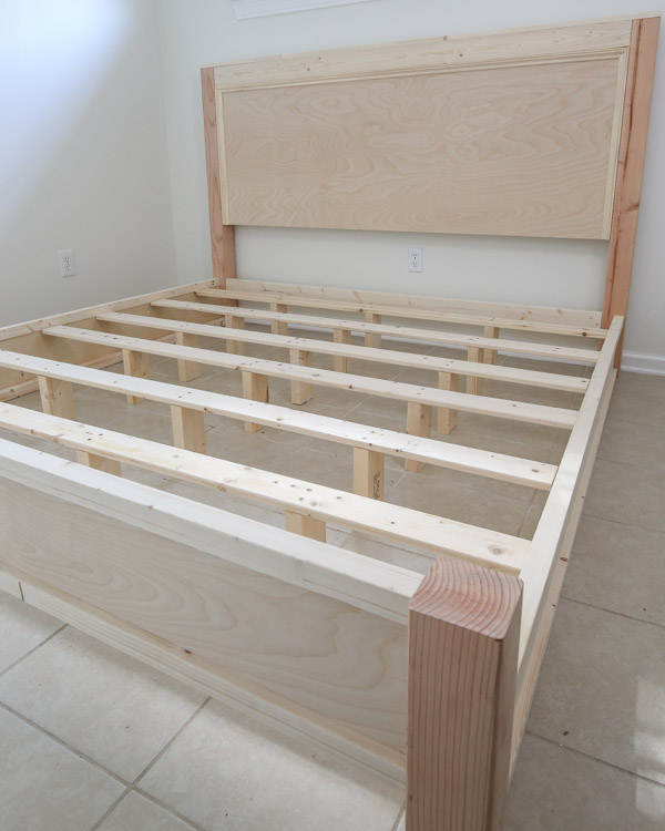 DIY king size bed frame headboard, footboard, side rails, and slat boards