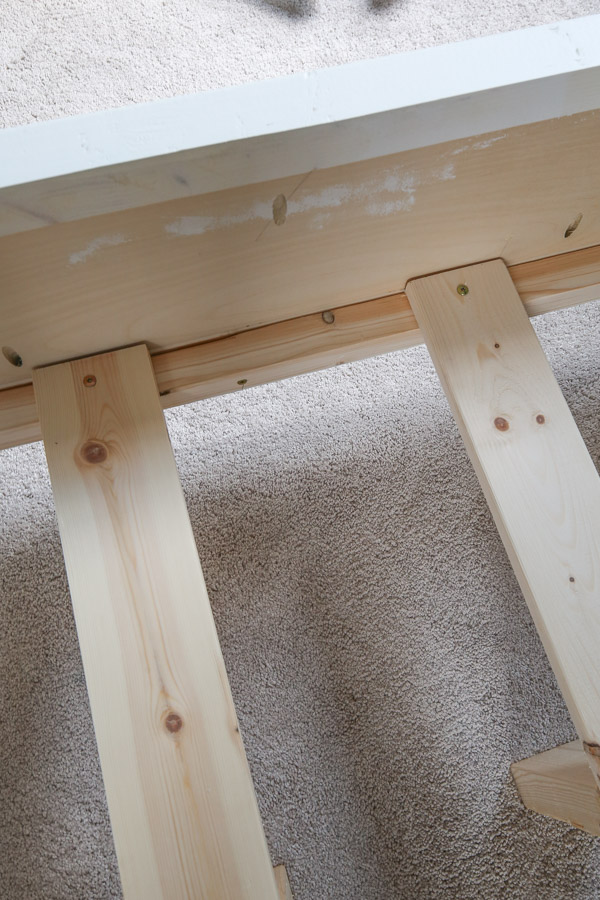 attaching slat support boards to side rails with screws