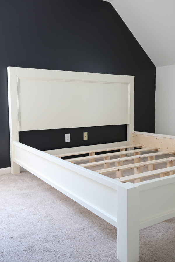 DIY bed frame assembled before adding mattress