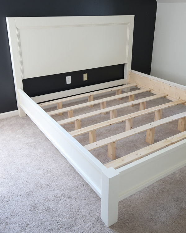 DIY king size bed frame assembled before adding mattress