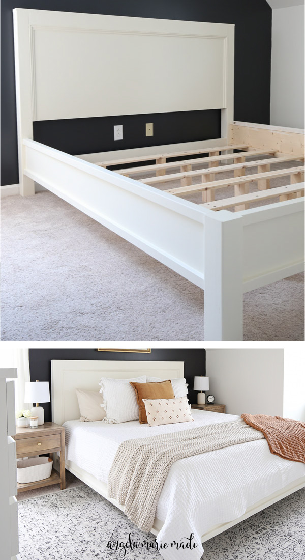 DIY bed frame before mattress and DIY king size bed frame with bedding