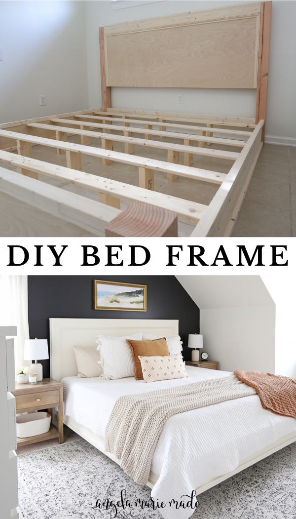 DIY bed frame built before paint and all finished with paint and bedding
