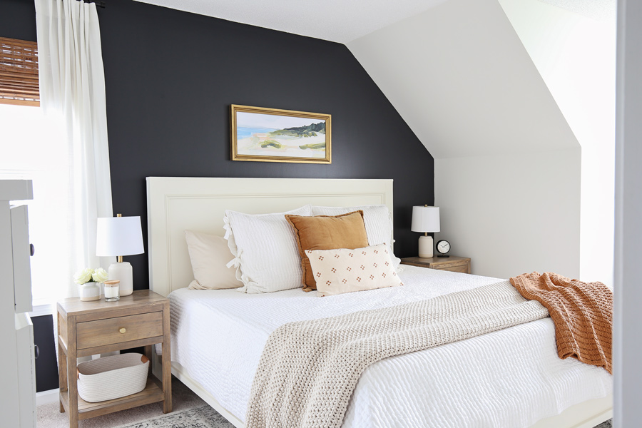 DIY bedroom makeover with painted black accent wall