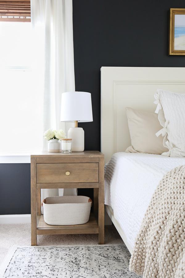 modern table lamps on DIY nightstand