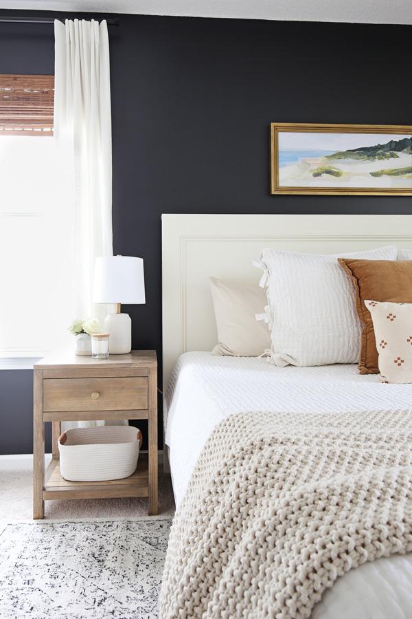 IKEA rivta curtains and bambo roman shades in bedroom