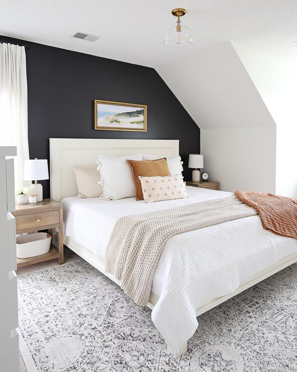 DIY bedroom makeover with DIY king bed frame and DIY nightstands