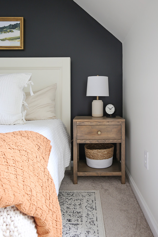 DIY nightstand with table lamp and clock