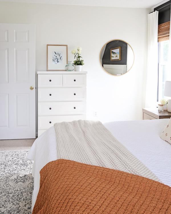 IKEA dresser hack and round mirror and dresser decor