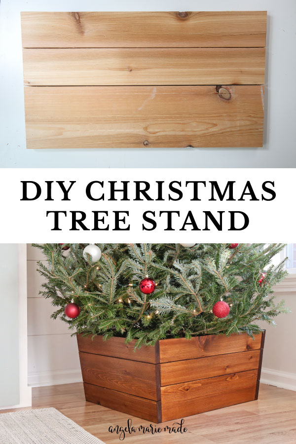 wooden DIY Christmas tree stand finished and sides