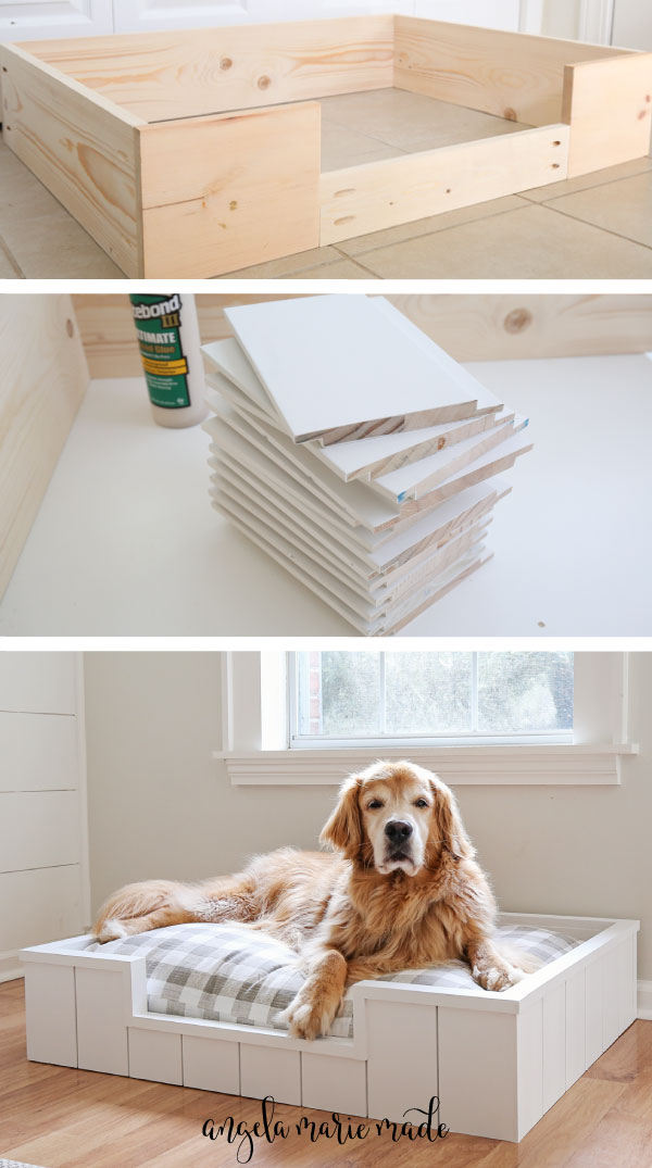 diy dog bed with shiplap boards cut and DIY dog bed frame