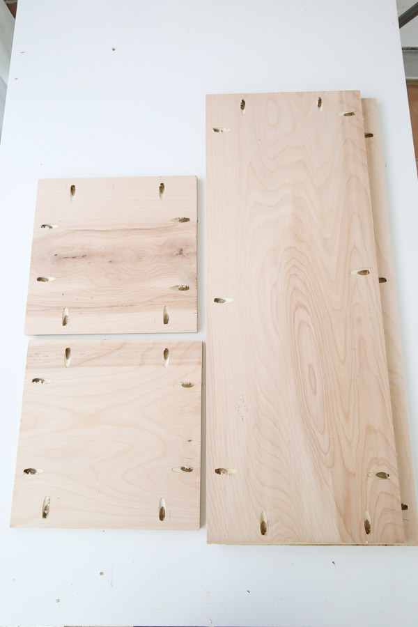 Add pocket holes on each side of the four plywood boards