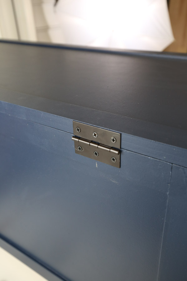 hinge attached to the back of the DIY toy chest