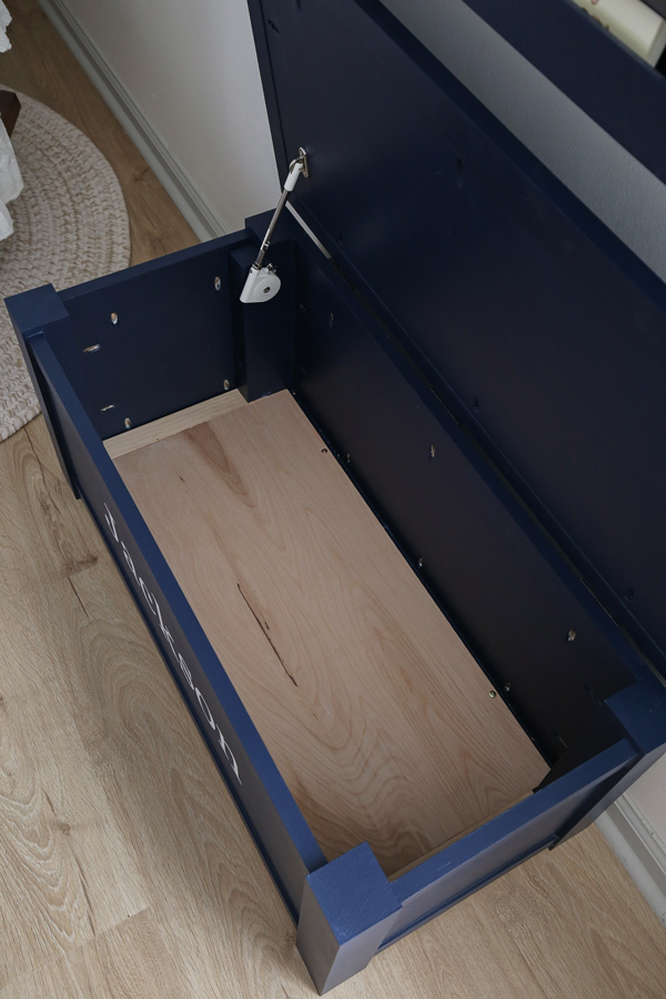 inside of diy wooden toy box