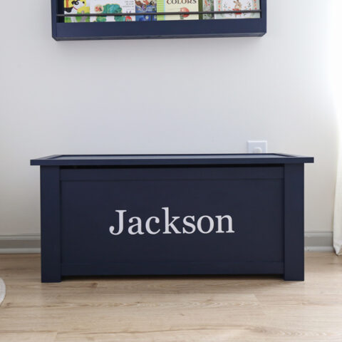 diy toy box painted navy blue