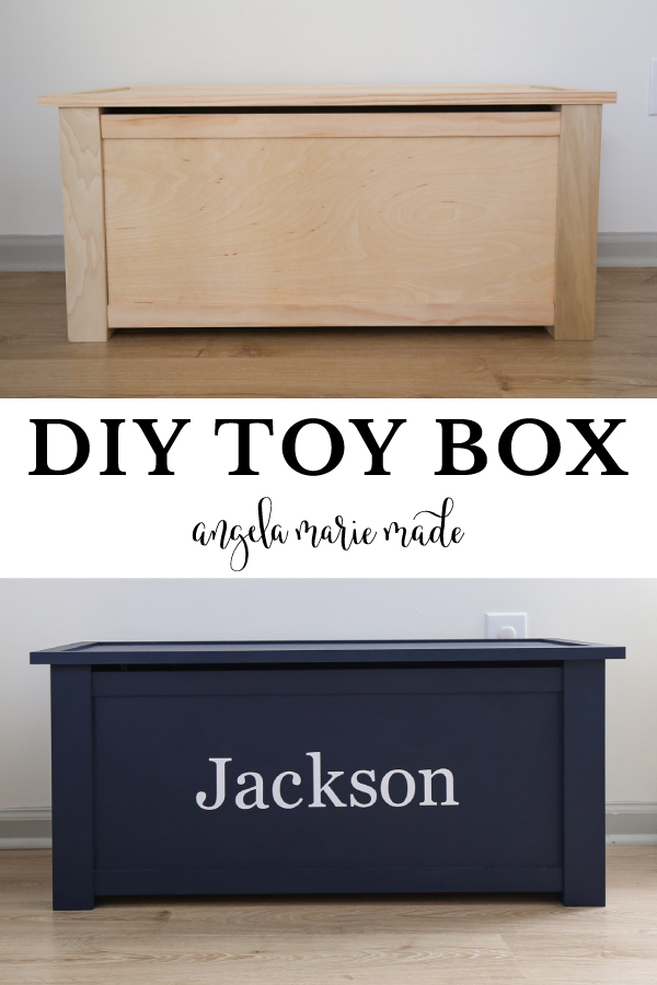 DIY toy box unfinished and finished with navy blue paint and name decal