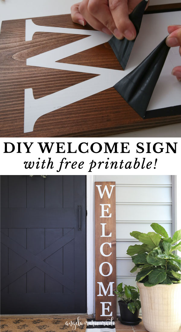 how to make a DIY welcome sign with wood, spray paint and vinyl stencil