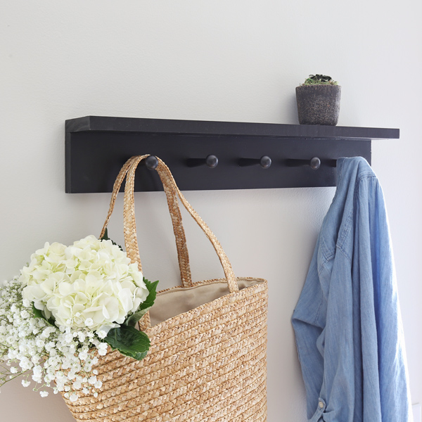 DIY coat rack shelf with shaker pegs
