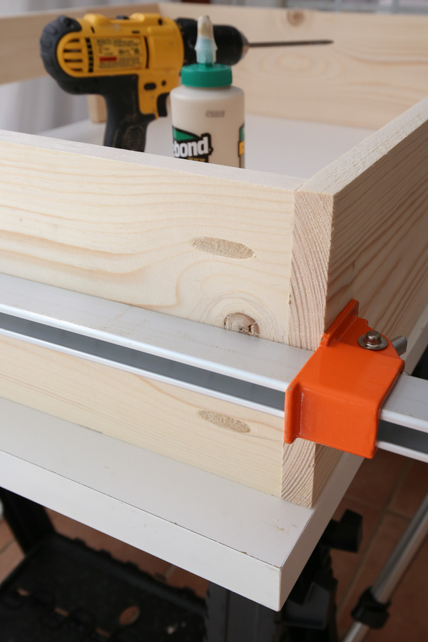 attaching sides of dog bed frame with clamps