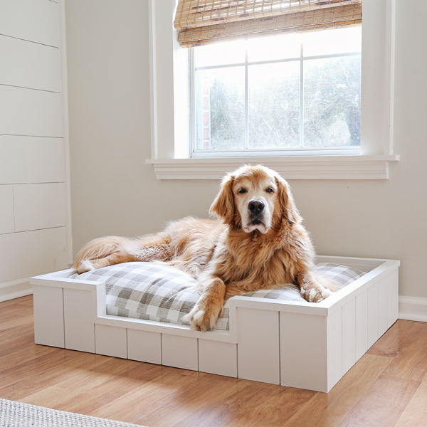 large DIY dog bed with shiplap
