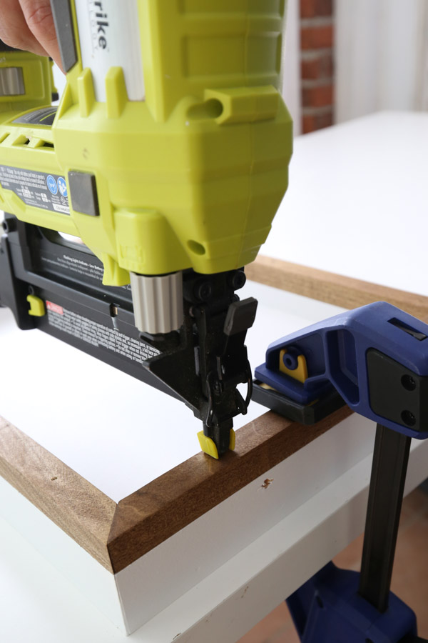using brad nailer to attach serving tray together
