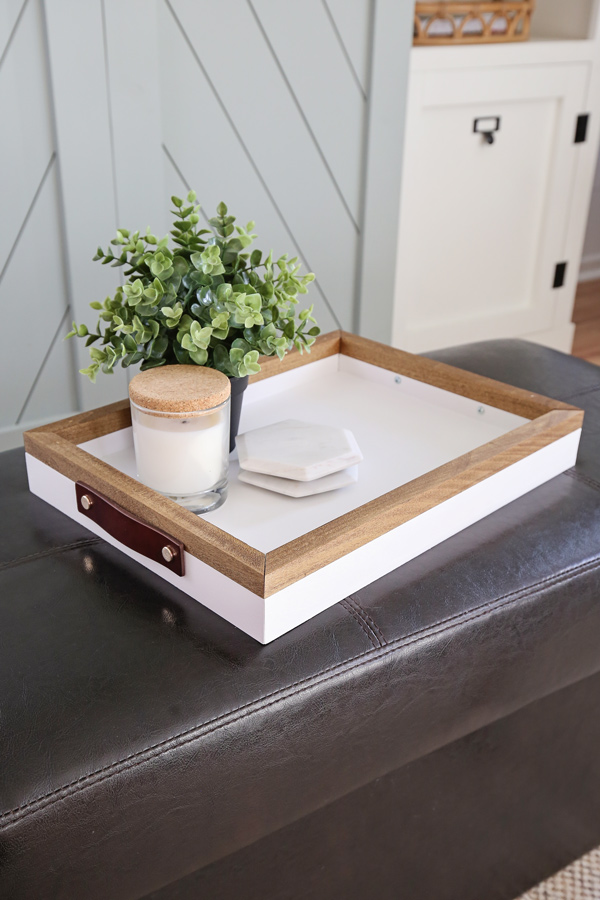 DIY wood serving tray in living room