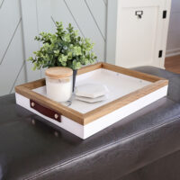 DIY serving tray with leather handles