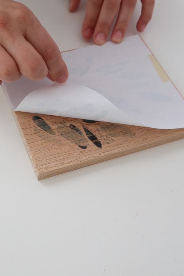 revealing print on wood