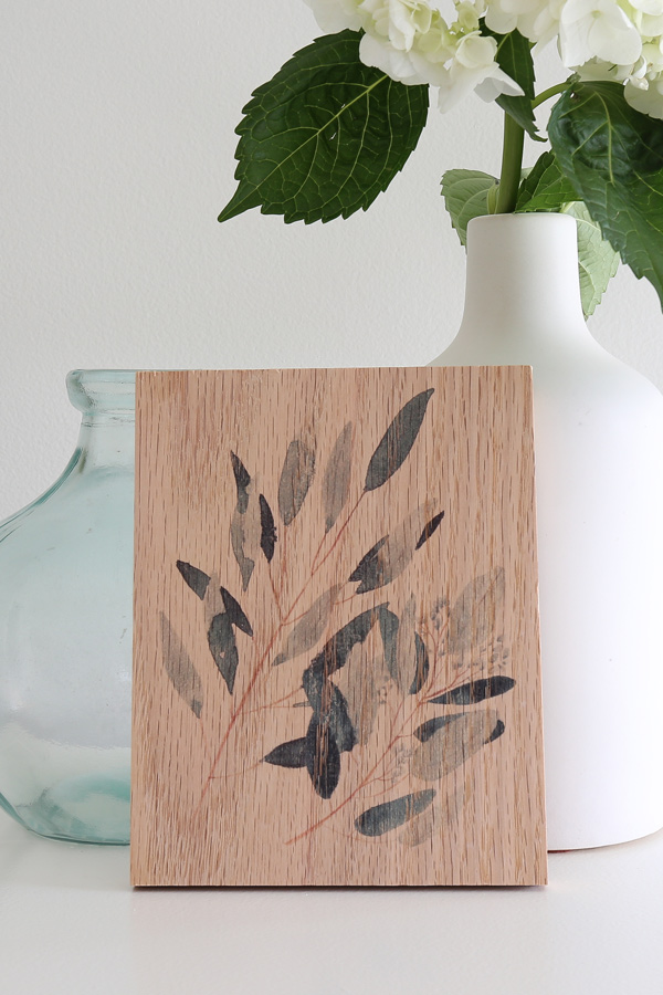 greenery print on wood