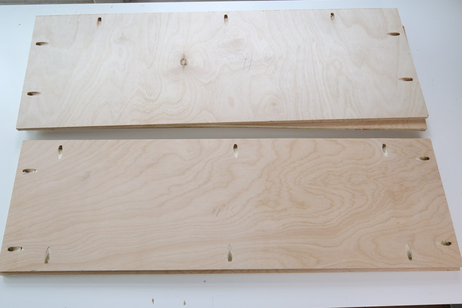 pocket holes on plywood boards for bookshelf