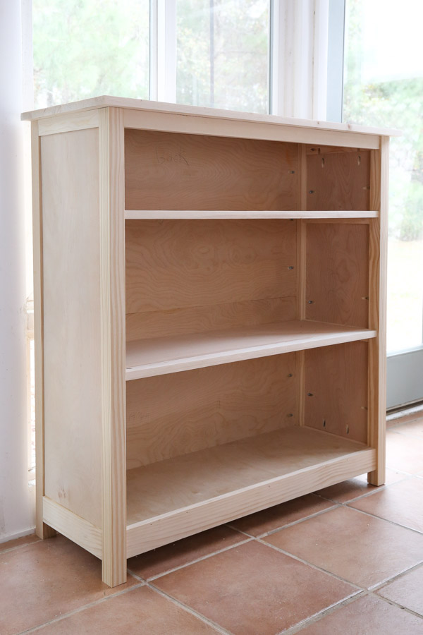 DIY kids bookshelf before paint