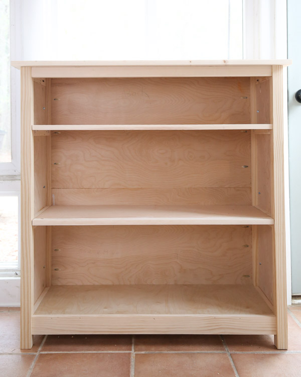 DIY bookshelf before paint