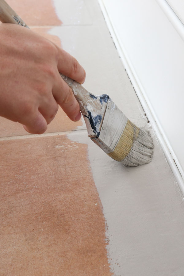 how to paint tile floor and cut in with a brush