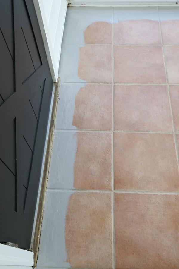 tile floor cut in with paint around room perimeter