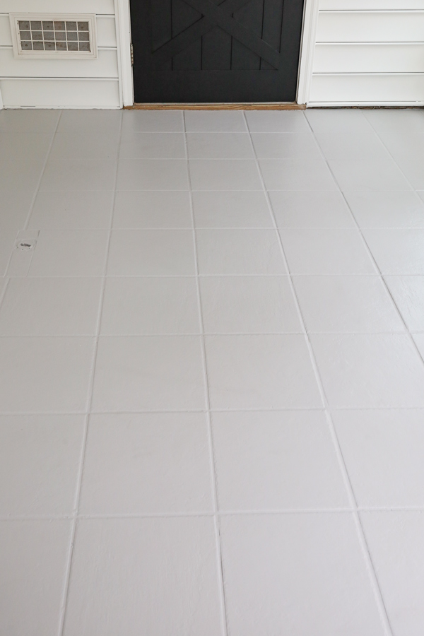 how to paint tile floor with gray painted tile floor