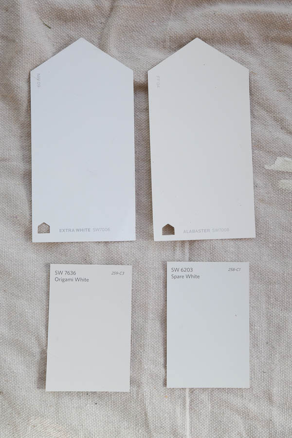 Sherwin Williams white paint swatches