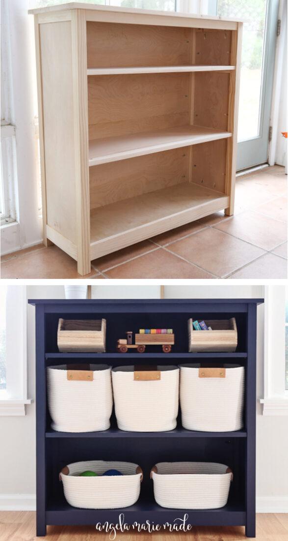 DIY bookshelf before adding a finish and DIY kids bookshelf painted with baskets