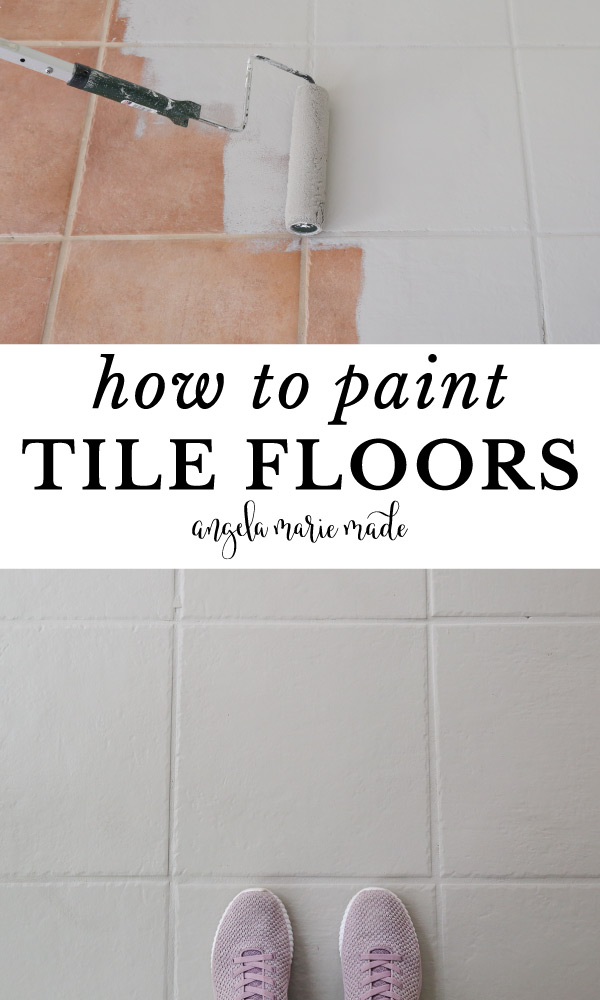 how to paint tile floor before and after