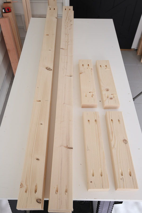 add pocket holes to 2x4s for frame of workbench
